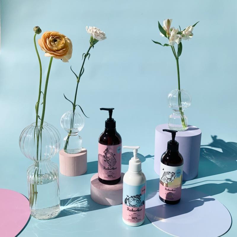 Rebarbara és rózsa természetes tusoló gél